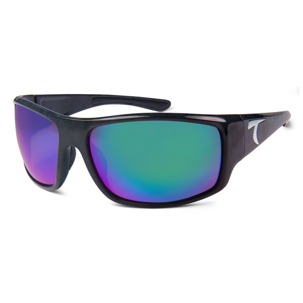 Typhoon Optics Cedros Island Sunglasses, Black Marble Frames with Green Mirror Lenses