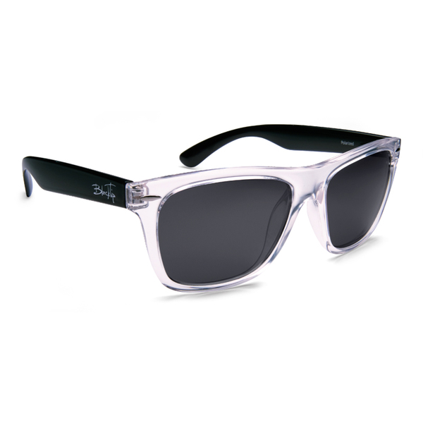 Blacktip Cat Shark Sunglasses, Clear Black/gray Frames with Gray Lenses