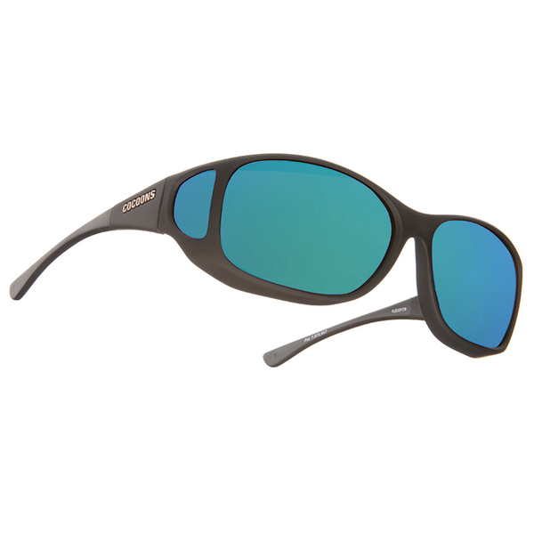 Cocoons Style Line MX Polarized Sunglasses, Black Frames with Black/green Mirror Mirror Lenses