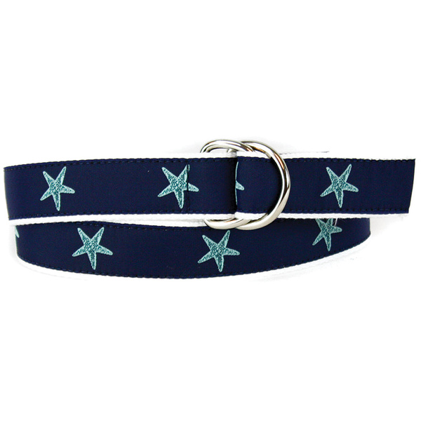 Leather Man Women's Blue Star Belt White