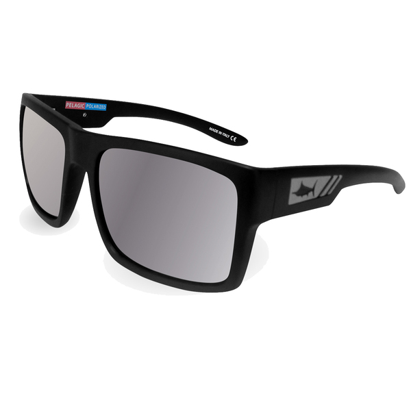 Pelagic Shark Bite Sunglasses, Matte Black/silver Frames with Silver Lenses Sale $159.00 SKU: 16289050 ID# 1310-MB-RL-SIL UPC# 182206032105 :