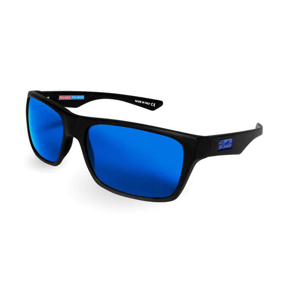 Pelagic Fish Taco Sunglasses, Matte Black/blue Frames with Ocean Lenses