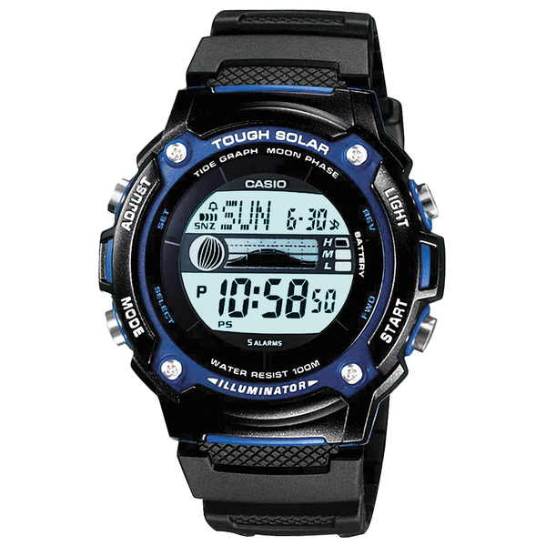 Casio Solar Power Tide Graph Chronograph Watch Black/blue