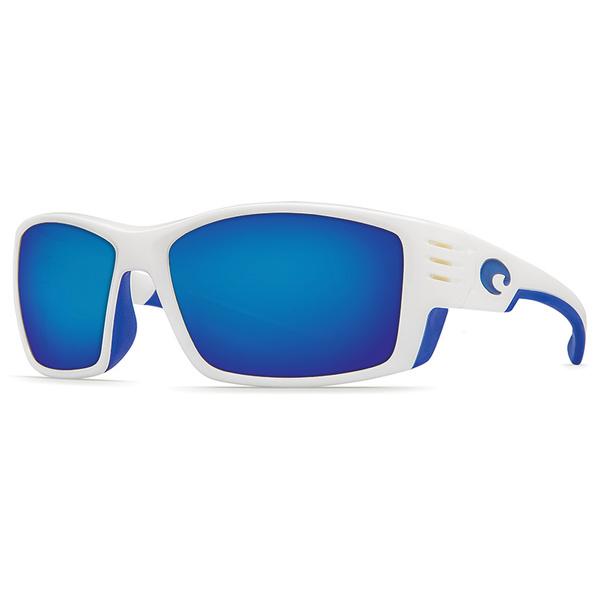 Costa Cortez Sunglasses, White Frames with White/blue Mirror 580P Lenses