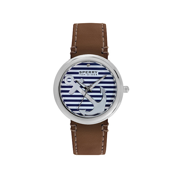 Sperry Women's Sandbar Watch, Brown Band With Striped Face