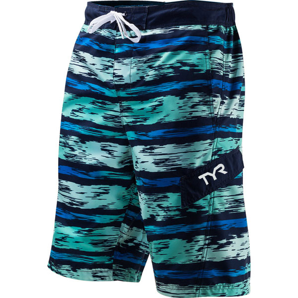 TYR Men's Springdale Paint Stripe Boardshorts Navy/turquoise