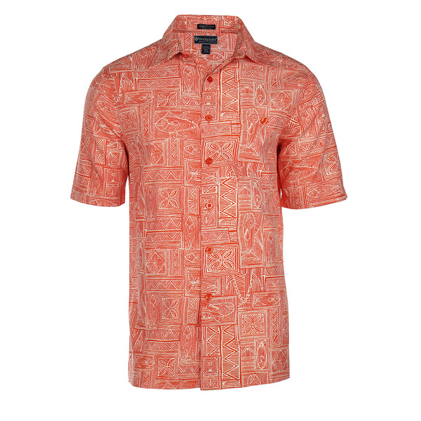 Weekender Mens Fish Tribe Shirt Fire Island Red Sale $78.00 SKU: 16425241 ID# M031456 932 M :