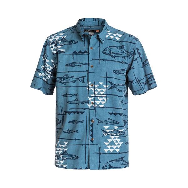 Quiksilver Men's Reelin' Short Sleeve Shirt Real Teal