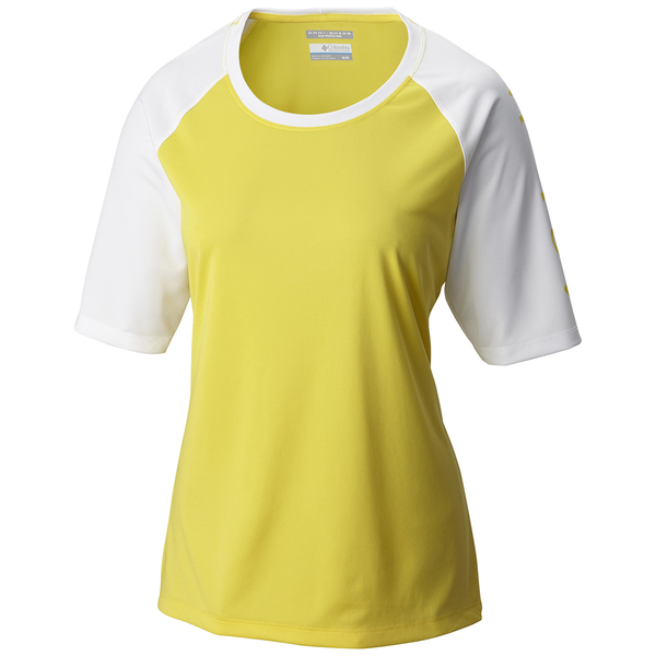 Columbia womens pfg tidal tee short sleeve shirt buttercup for Columbia shirts womens pfg