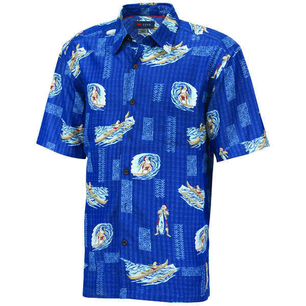 COVA Men's Christmas Woven Short Sleeve Shirt Blue