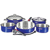 10-Piece Nesting Cookware, Stainless Steel & Cobalt-Blue Finish
