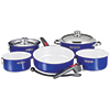 10-Piece Nesting Stainless Steel Ceramic Non-Stick Cookware Set, Cobalt Blue