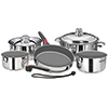 10-Piece Nesting Stainless Steel Ceramic Non-Stick Induction Cookware Set