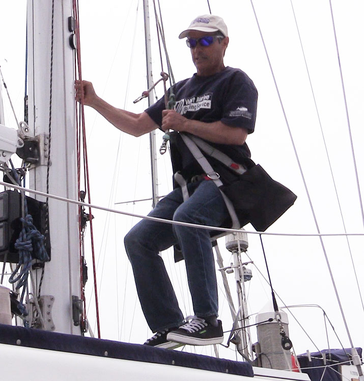Mark bounce testing the halyards
