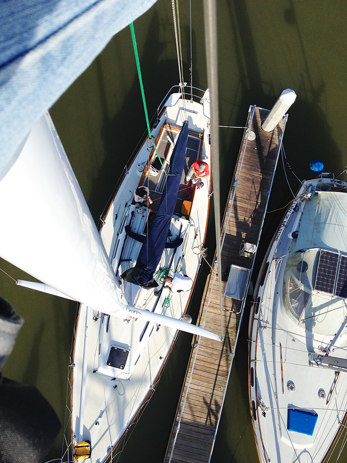 Looking down at the deck from the bosun's chair