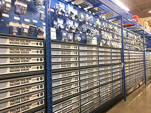Fasteners aisle in a West Marine store