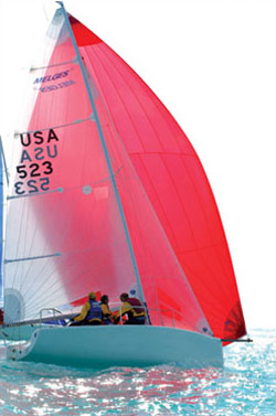 Melges 24 with a red asymmetrical spinnaker