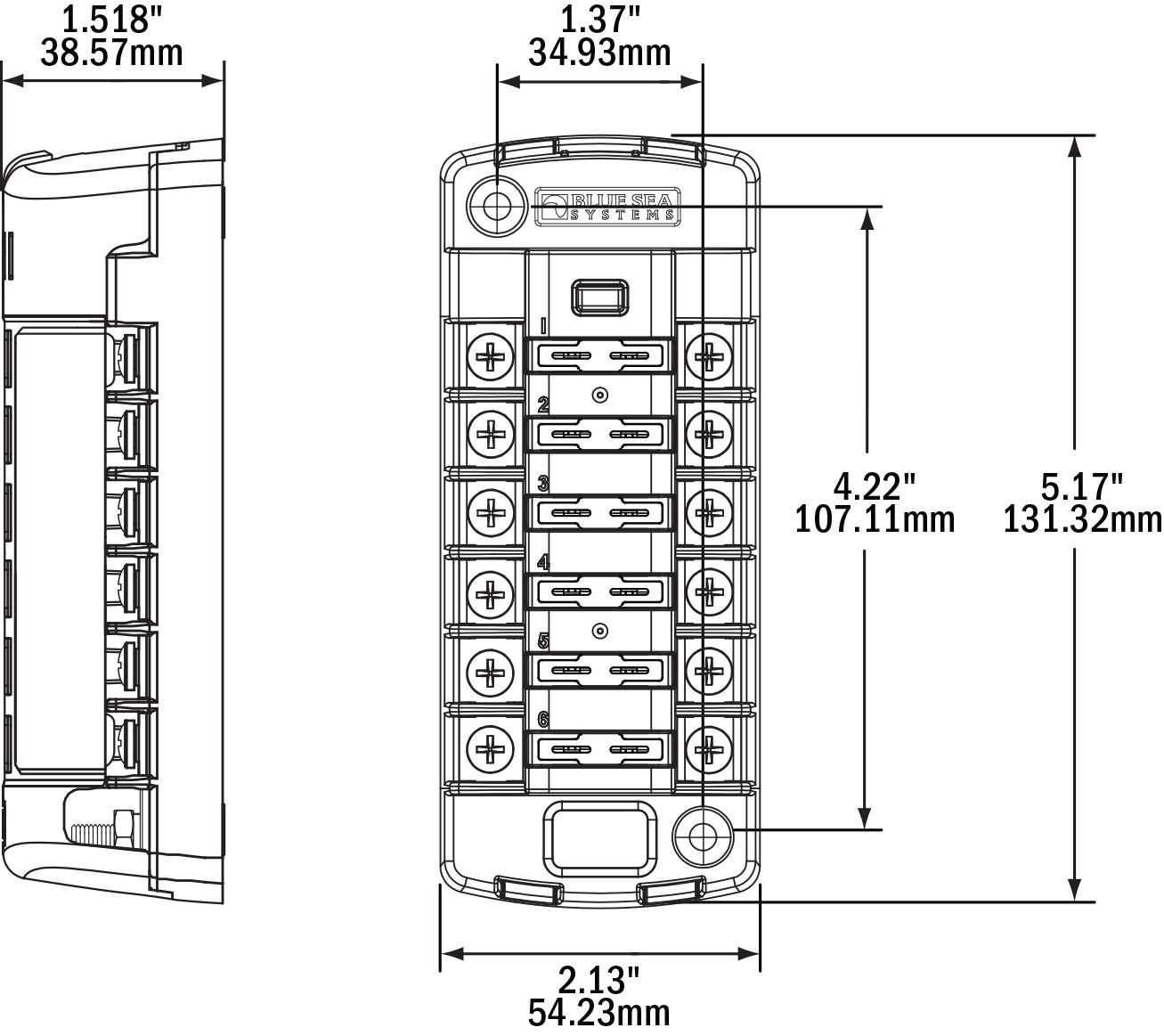 Blue Sea Systems St Blade 6 Position Fuse Block West Marine 12v 1 X 4 Way Box Holder Fuses Wiring Diagram Dimensional Drawing