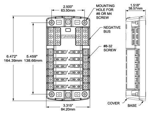 BSS 5026 Dim Drawing blue sea systems st blade fuse blocks west marine marine fuse block wiring diagram at n-0.co