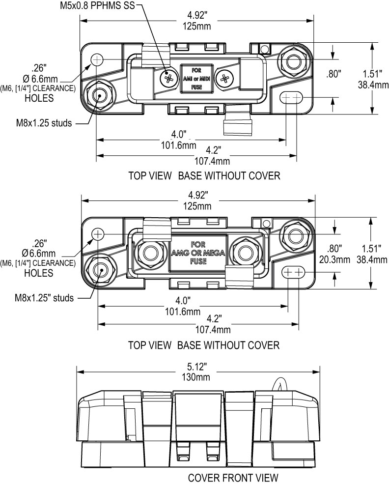 Safety Fuse Blocks with Sealed Cover on