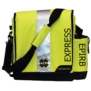 Bright yellow ACR ditch bag with reflective tape