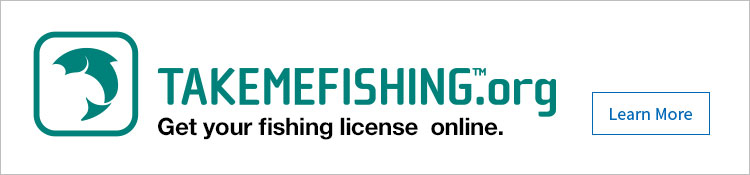 Get your fishing license online.  takemefishing.org - Learn More