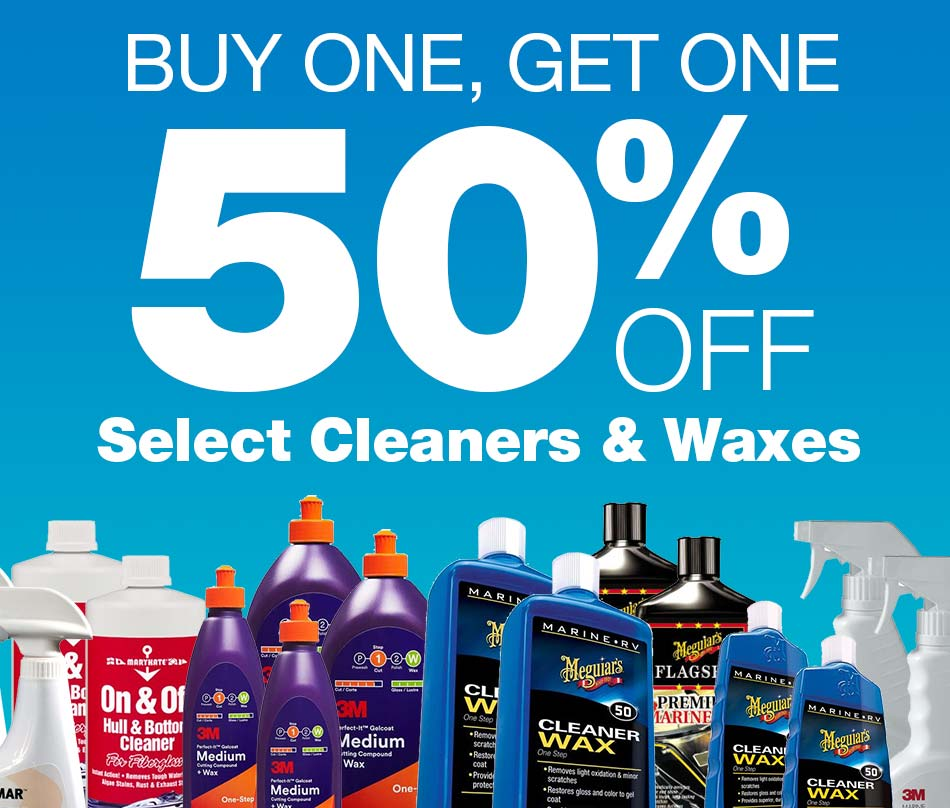 Buy One, Get One 50% off, select cleaners & waxes.