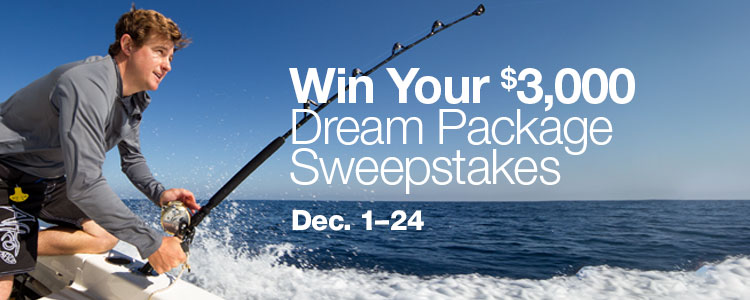 Win Your $3,000 Dream Package Sweepstakes. December 1 to 24.