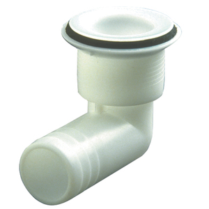 "1 1/4"" 90° Plastic Drain Fitting, Fits 1"" Hose"