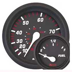 Professional Red Series Trim Gauge, Mercury/Mariner/Mercruiser/Volvo DP & Yamaha 2001 & Newer