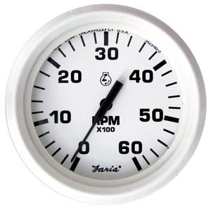 Dress White Series Tachometer, 6000 rpm, Gas Inboard & Amp I/O on