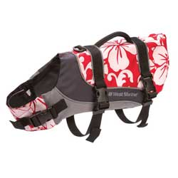 Deluxe Pet Life Jackets, Red with Flower Motif