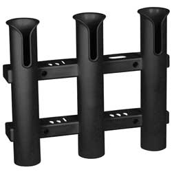 Surface Mount 3 Rod Holder, Black