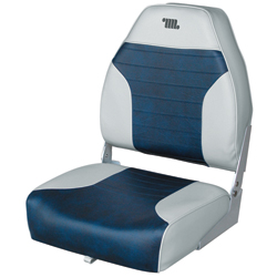 Mid-Back Folding Fishing Boat Seat, Gray/Navy