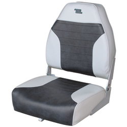 Mid-Back Folding Fishing Boat Seat, Gray/Charcoal