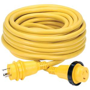 50' Economy ShorePower Cordset, 30A 125V, Yellow