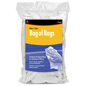 Recycled White Cloth Rags, 1 lb. Bag