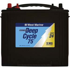 Deep Cycle Flooded Marine Battery, 75 Amp Hours, Group 24