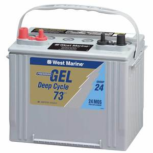 Group 24 Gel Deep Cycle Marine Gel Battery, 73 Amp Hours