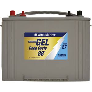 Group 27 Deep Cycle Marine Gel Battery, 88 Amp Hours