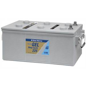 Group 8D Gel Deep Cycle Marine Gel Battery, 225 Amp Hours