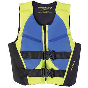 Deluxe Kids' Rapid Dry Life Jacket, Youth 50-90lb., Lime/Blue