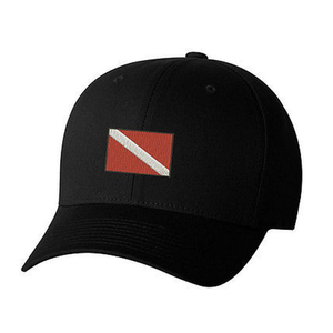 Embroidered Dive Flag Hat, Black