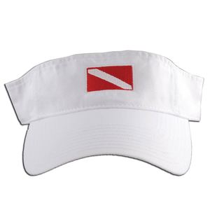 Embroidered Dive Flag Visor, White