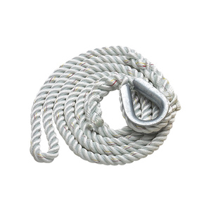 "White Three-Strand Nylon Mooring Pendant 1/2"" Diameter x 15' Length"