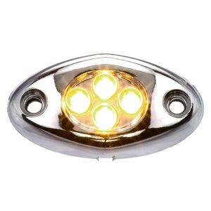 4 LED Courtesy Light, Surface Mount with Chrome Case, Amber LED