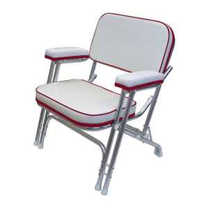 Folding Deck Chair with Aluminum Frame, White/Dark Red