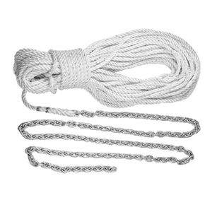 "200' X 9/16"" Three Strand Nylon Rope/High Test Chain Anchor Rode"