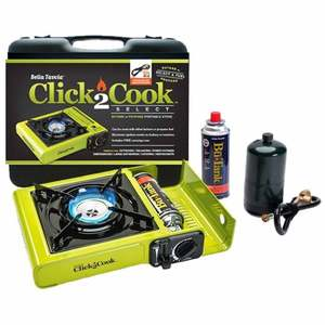 Click2Cook Select Butane or Propane Portable Stove With Hose and Regulator Assembly