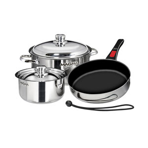 "7-Piece Professional Series Gourmet ""Nesting"" Stainless Steel Cookware with Ceramica® Non-Stick"